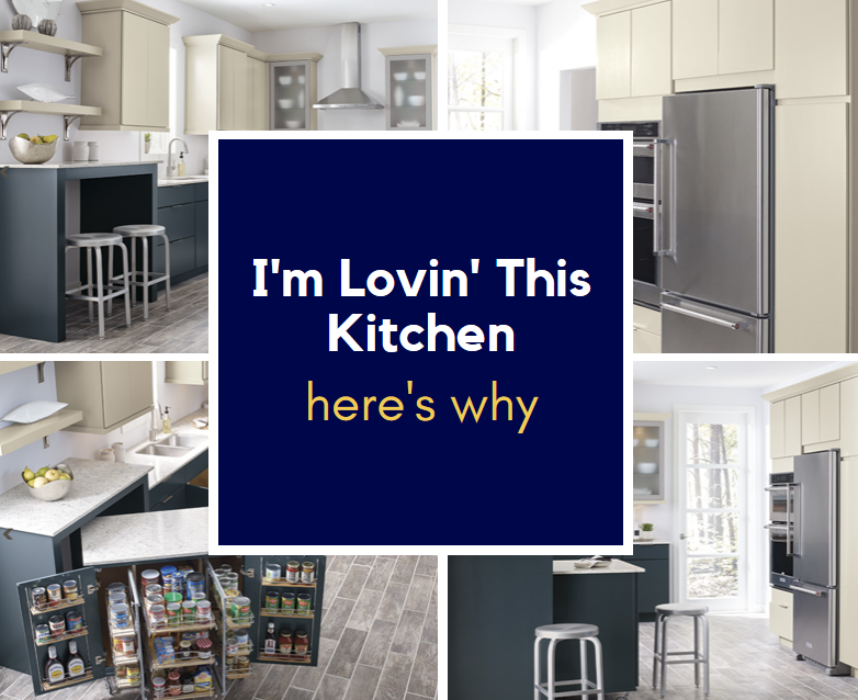 I'm lovin' this kitchen here's why. Island that rolls out from under countertop, has pantry storage and leaves a breakfast bar area, lazy susan with pull outs, pull out under sink.