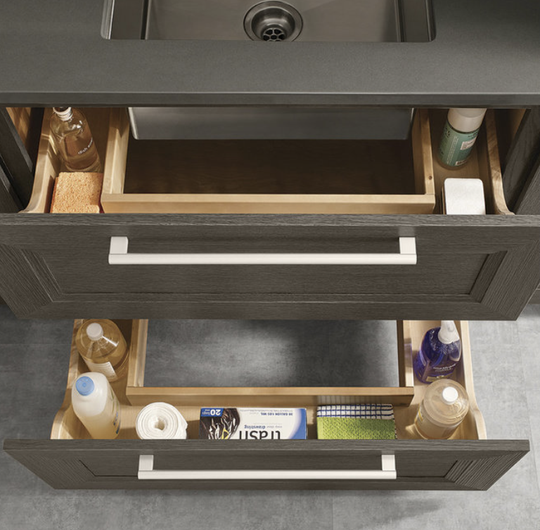 sink cabinet with u-shaped drawers to accommodate plumbing